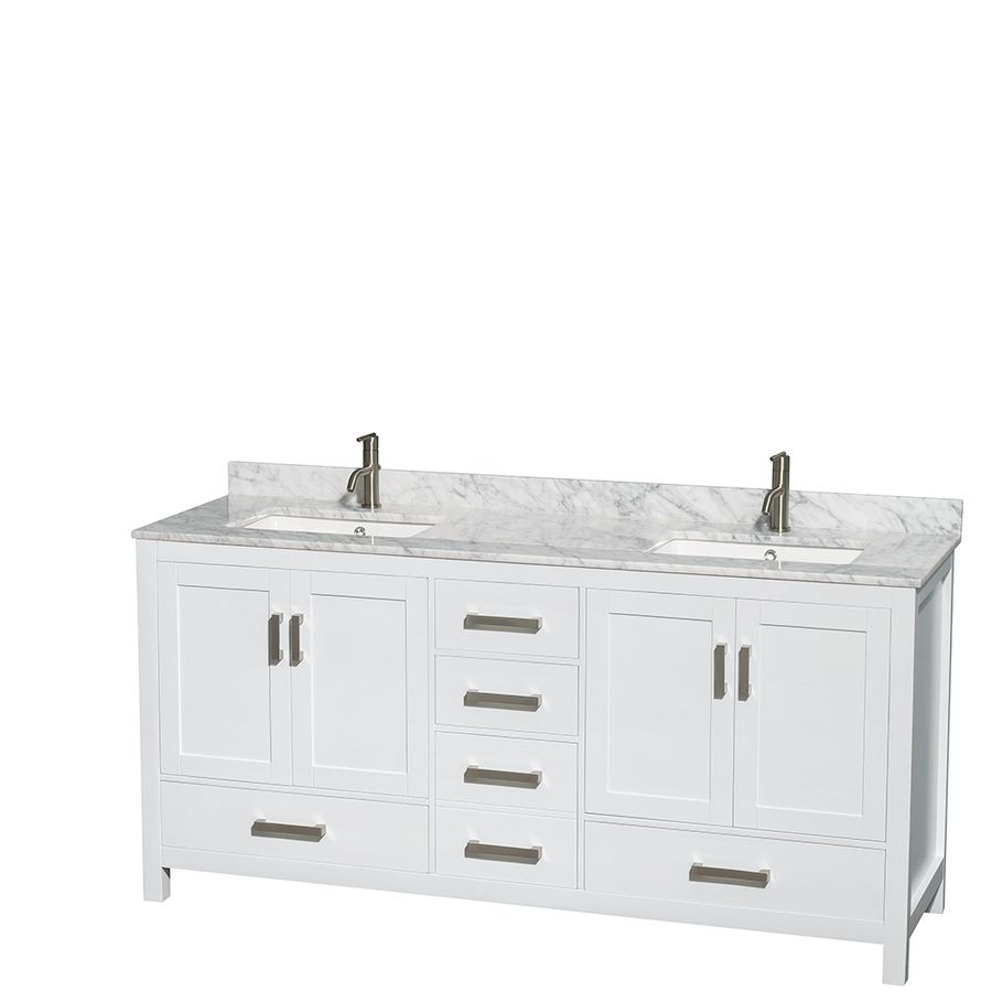Wyndham Collection Sheffield White Undermount Double Sink Bathroom Vanity With Natura Double Vanity Bathroom Marble Vanity Tops White Vanity Bathroom