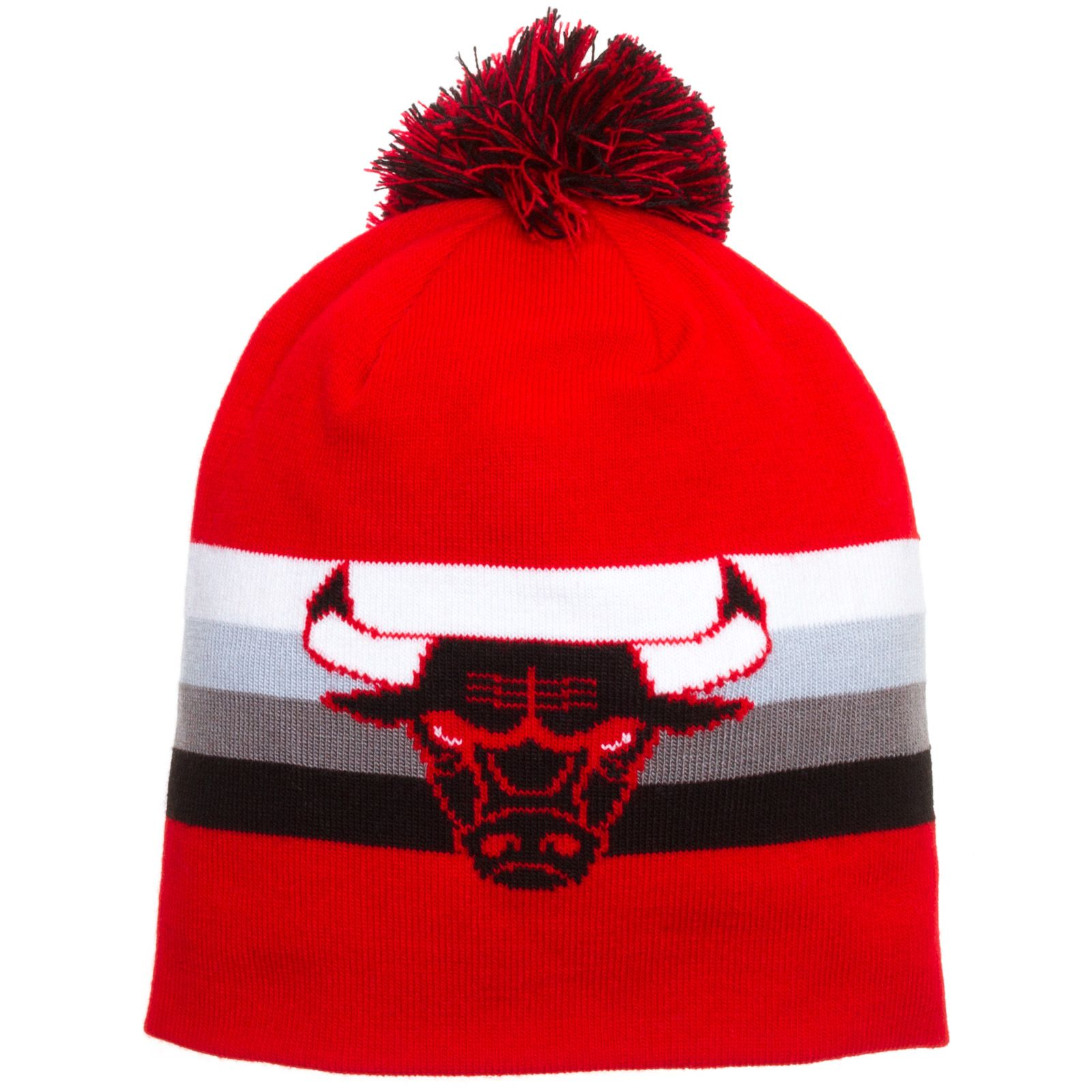 Chicago bulls red boost long knit hat by mitchell ness