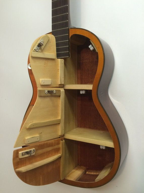 Guitar Shelf 32 Recycled Acoustic Guitar With 6 Cabinet Doors