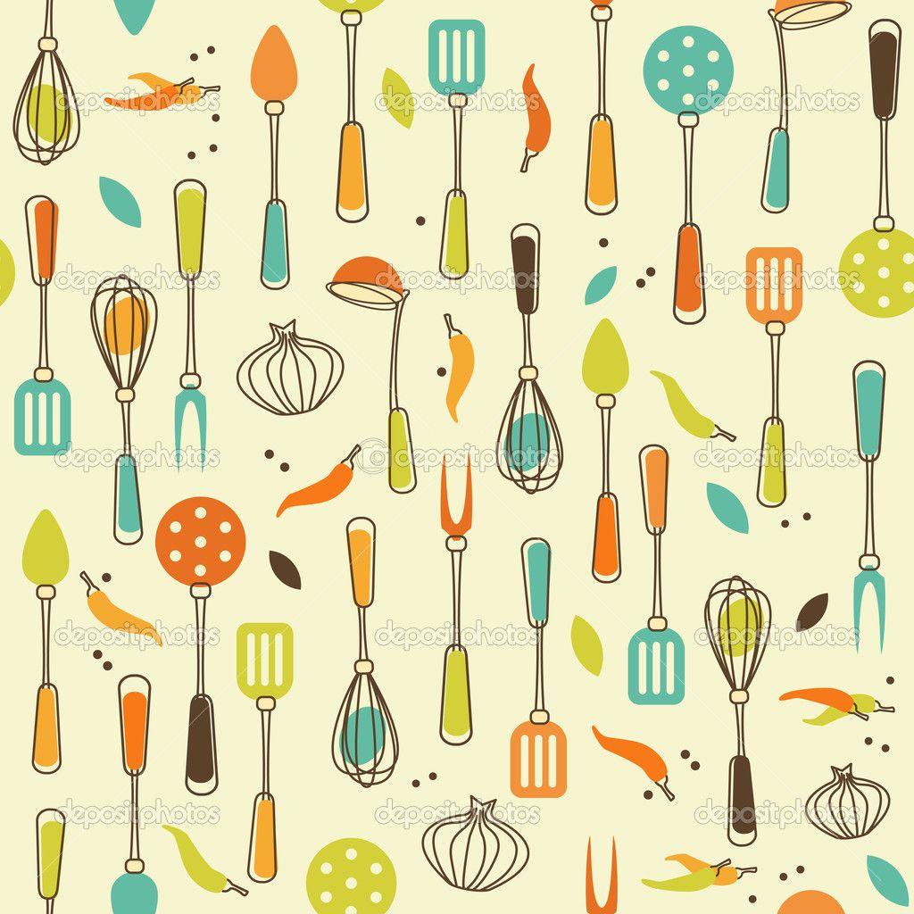 Kitchen Utensils Wallpaper Kitchen Utensil  Stock Vector © Evellean 12805154  Kitchen