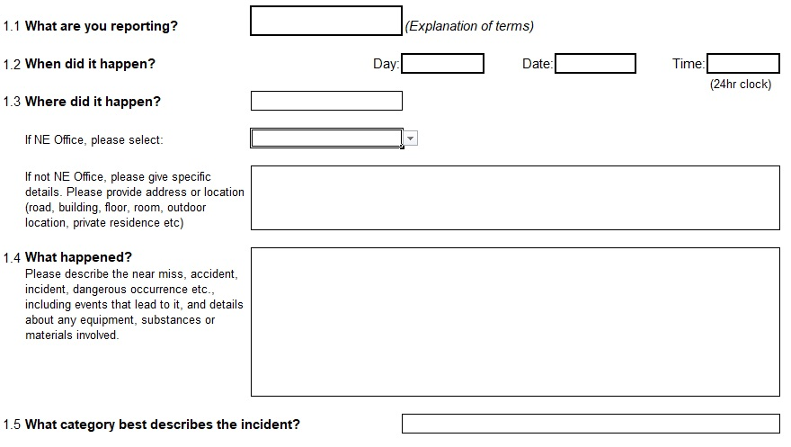 Health and Safety Incident Report Incident report
