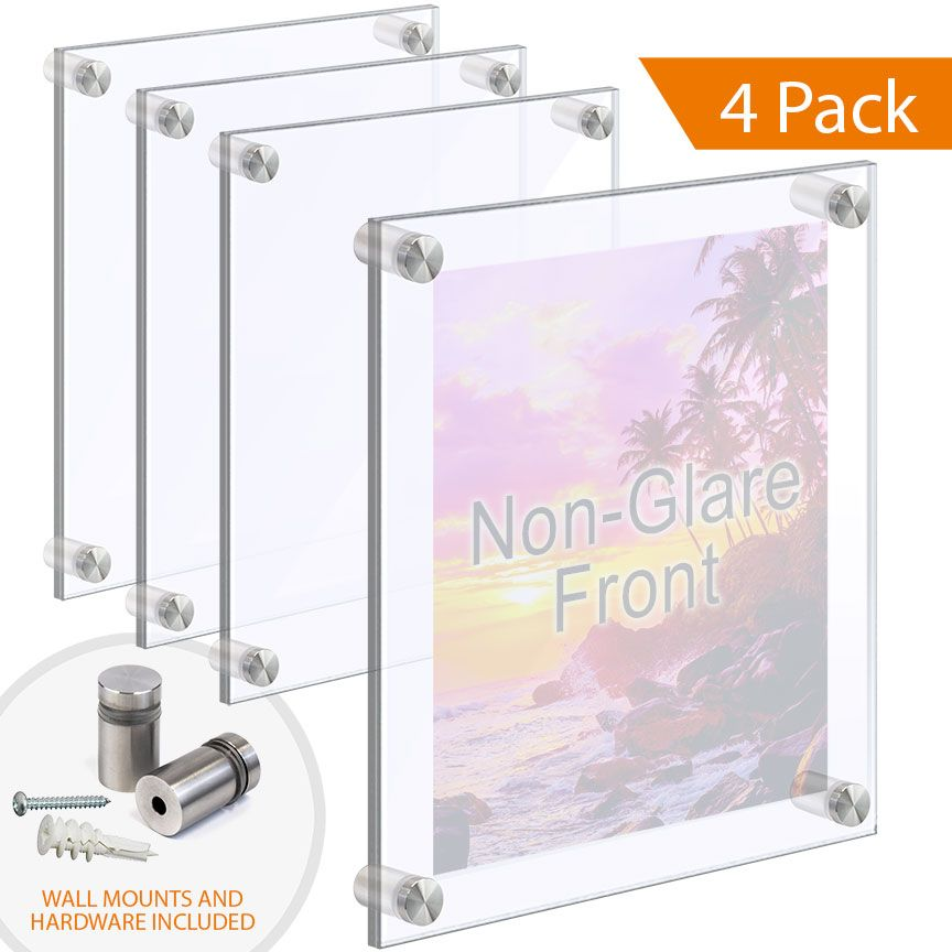 Acrylic Poster Frames With Non Glare Front Wall Mounted On Standoffs In 2020 Poster Frame Floating Acrylic Frame Acrylic Panels