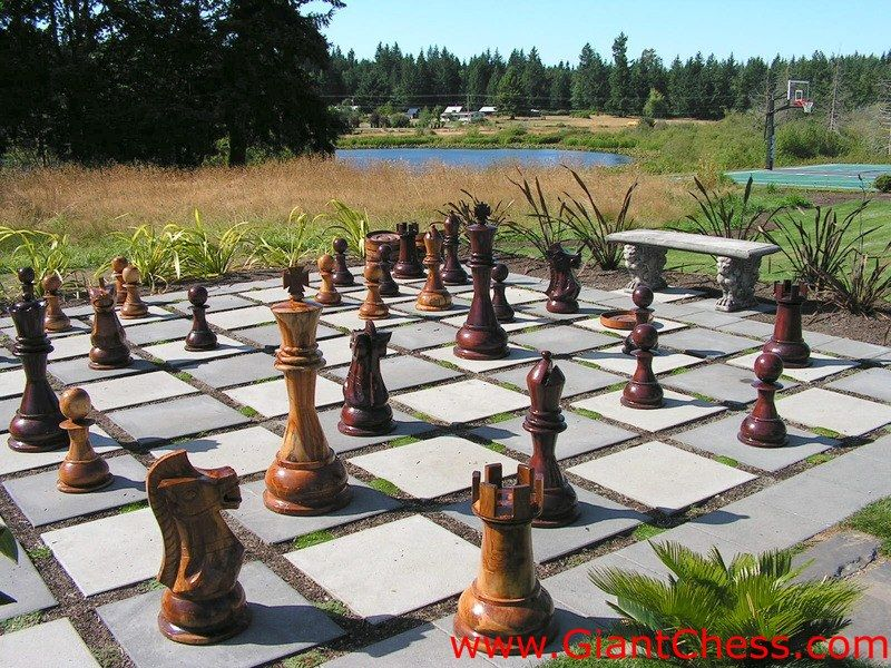 Large Outdoor Chess Set Not Sure I Would Make It This Big But Elijah Would Love This Chess Board Backyard Backyard Buildings