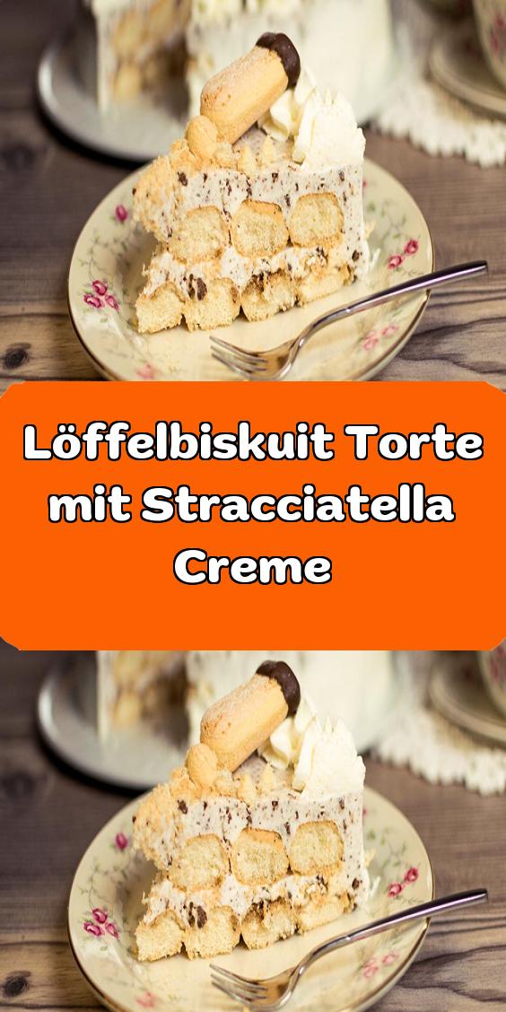 Loffelbiskuit Torte Mit Stracciatella Creme In 2020 Kuchen Ohne Backen Lecker Torten