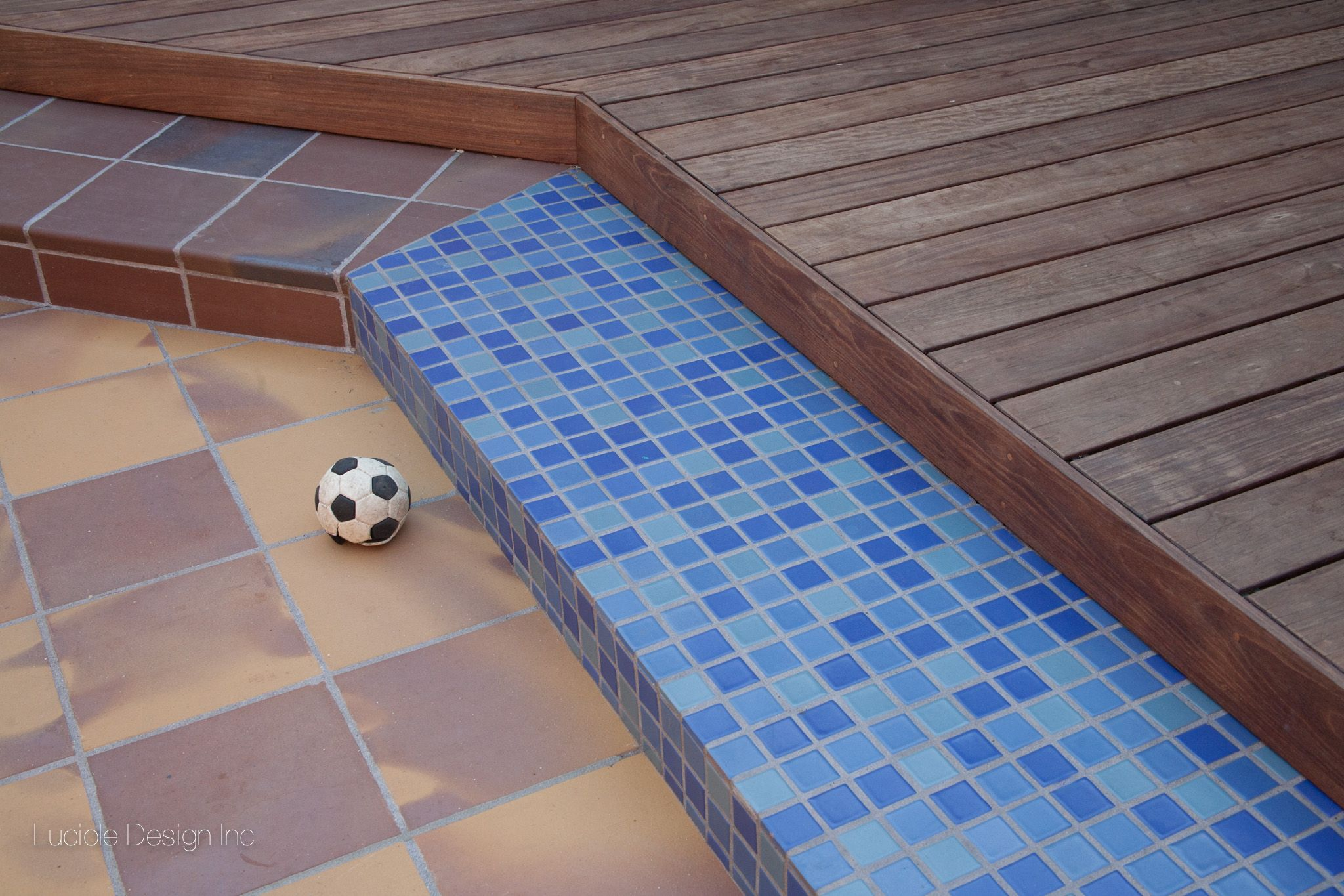 Transition from deck to patio: ipe wood deck, blue Fireclay tiles ...
