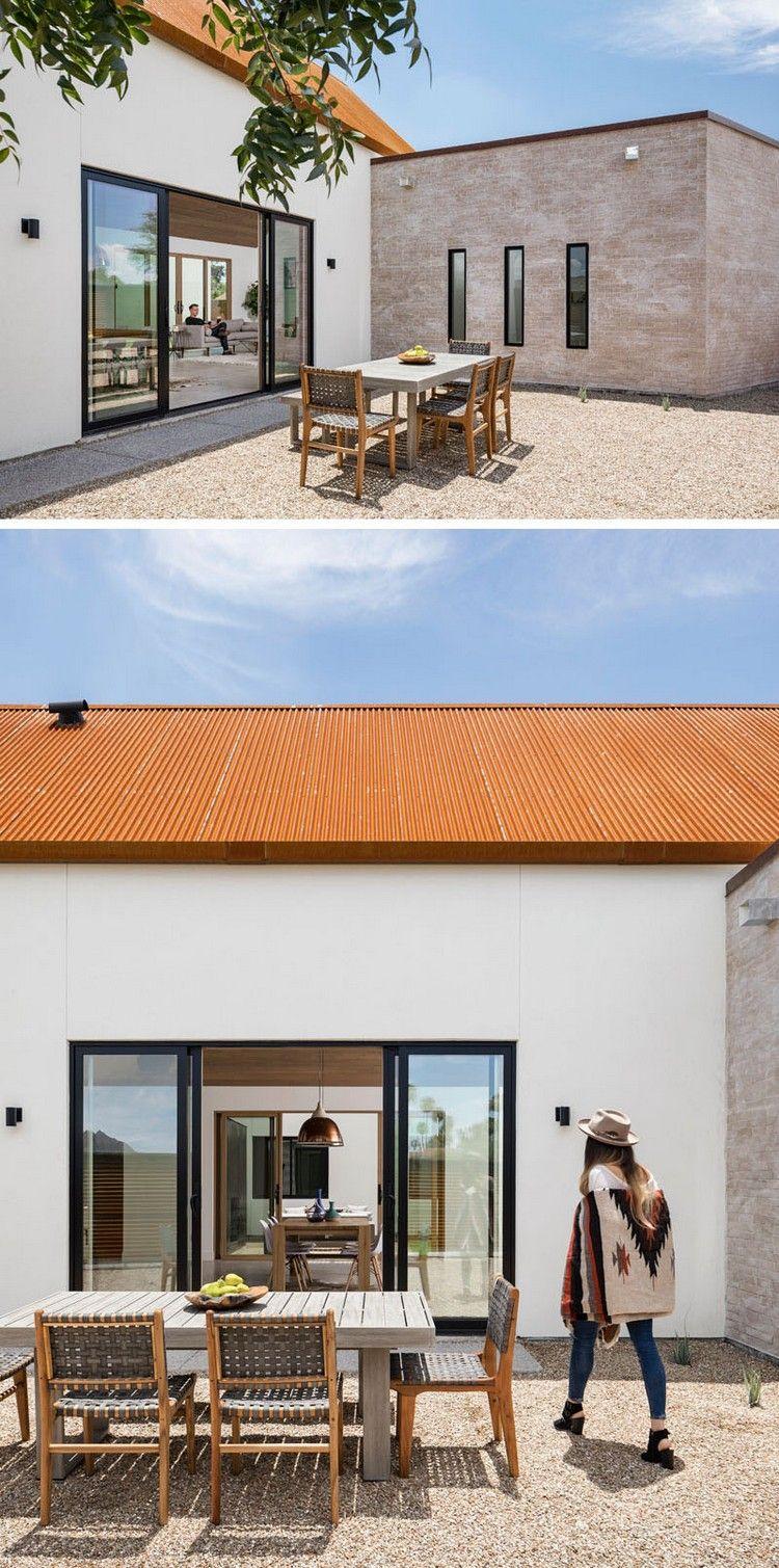 metalldach rostoptik haus innenhof essbereich #architecture #fasade ...