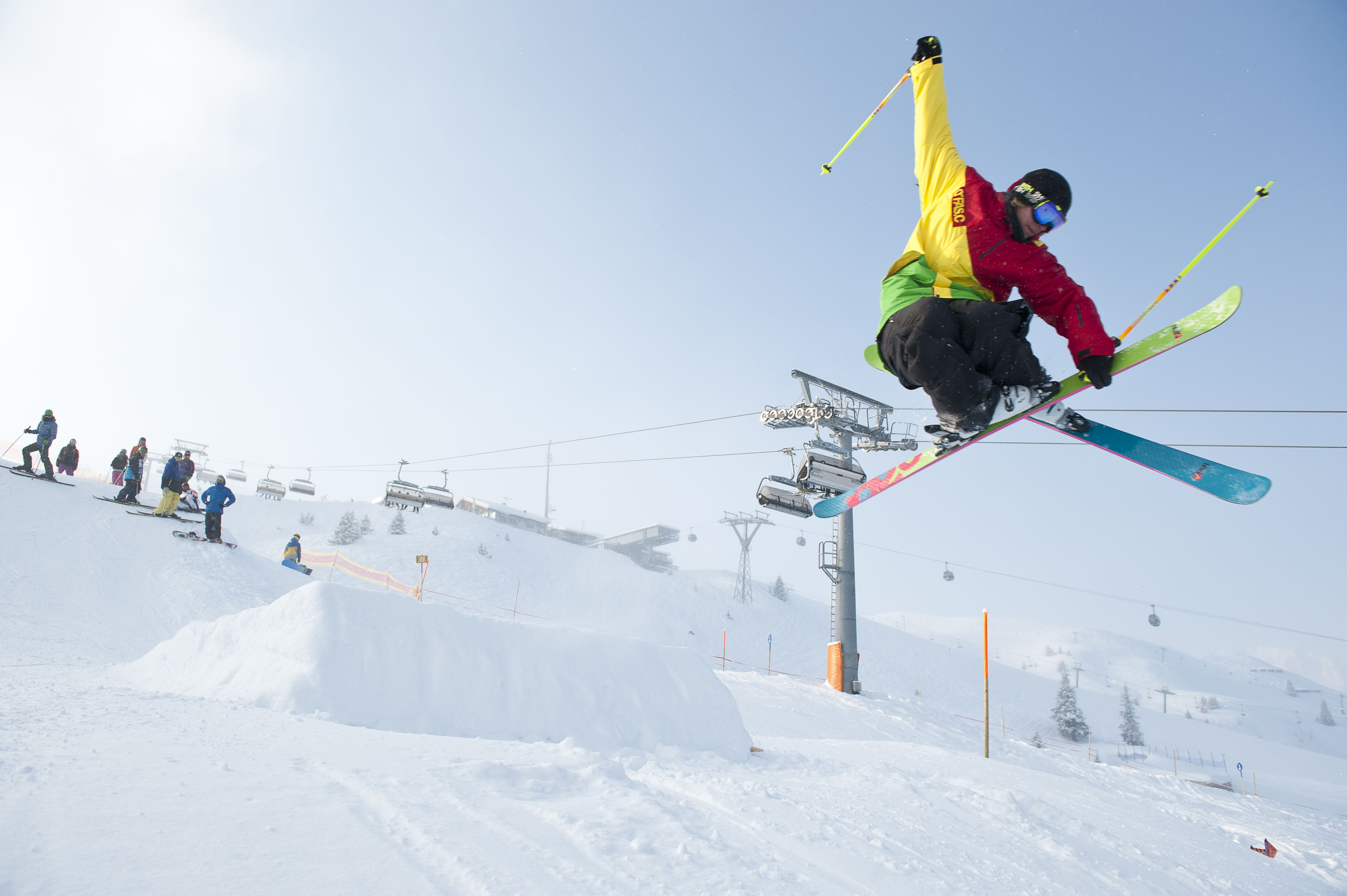 freestyle skiing at Golm in Montafon Schi fahren am Golm