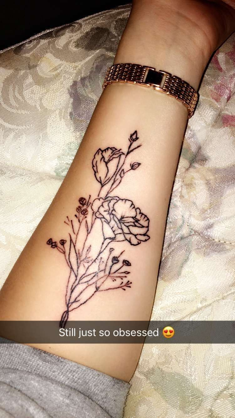 1656bc55cb815 Simple floral tattoo/forearm placement #WristTattoos #TattooIdeasForearm  #TattooIdeasFlower #TattooIdeasSmall