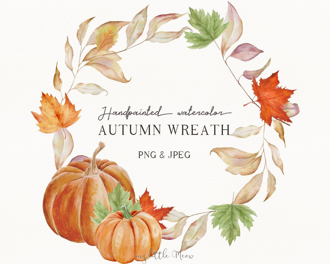Fall Wreath Clipart Watercolor Digital Download Png Holiday Etsy Thanksgiving Invitation Fall Wreath Wreath Watercolor