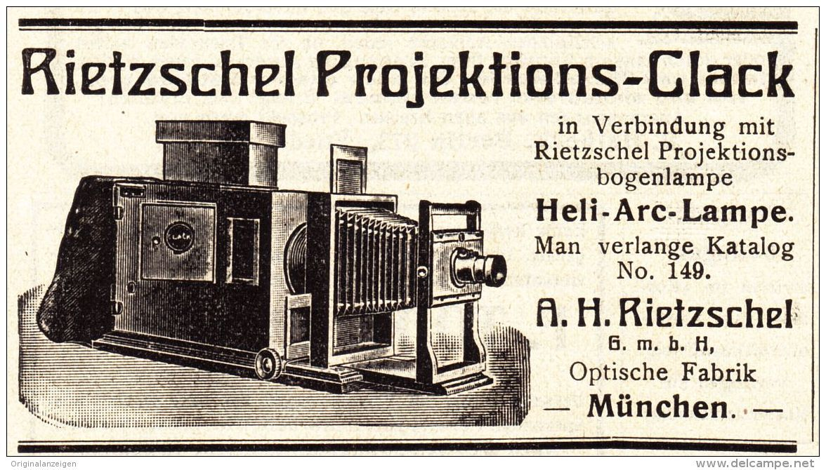 Original-Werbung/ Anzeige 1909 - RIETZSCHEL PROJEKTIONS - CLACK - ca. 90 x 50 mm
