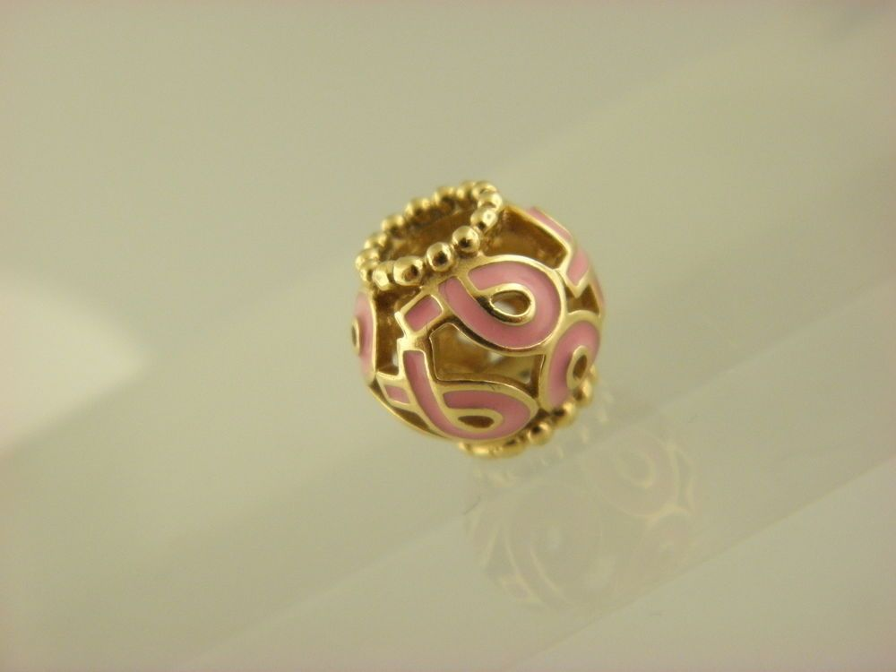 Pandora 750805EN24 14K Gold Pink Ribbon Breast Cancer Bead Charm