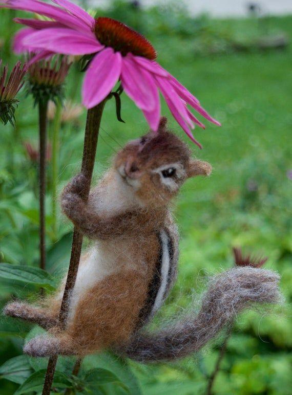 Needle Felted Chipmunk Realistic Life sized poseable image 3