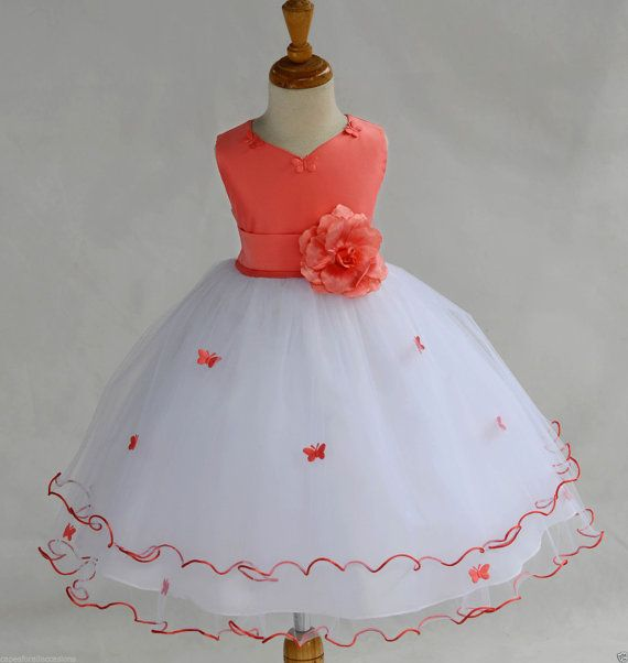 067828f562 White Coral Flower Girl butterflies tulle dress by ekidsbridalusa ...