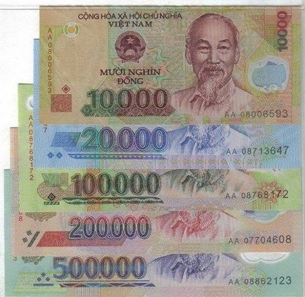 "Vietnamese currency is called ""Dong"" (abbreviated VND). 1$ equals 21,300"