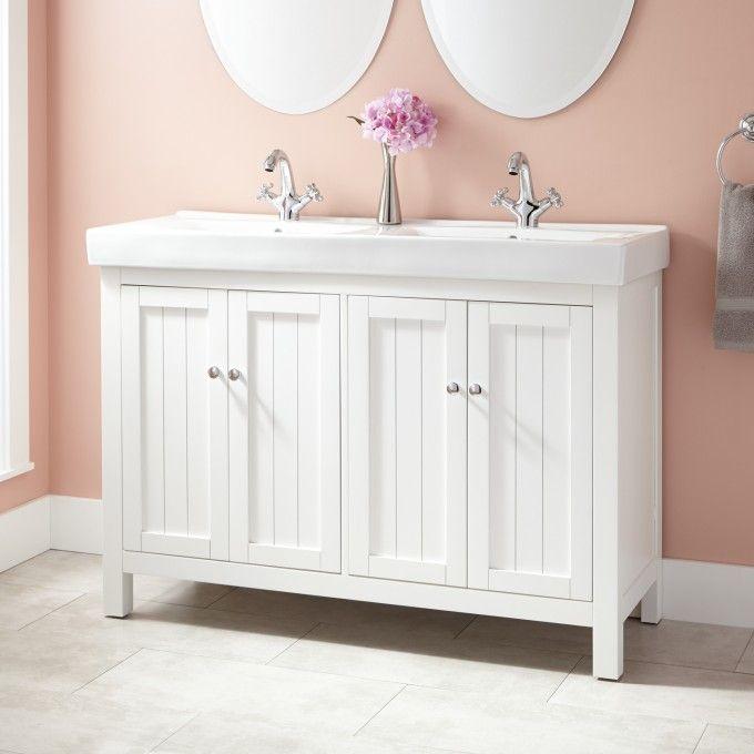 48 harris double vanity cabinet white bathroom - Small double sink bathroom vanities ...