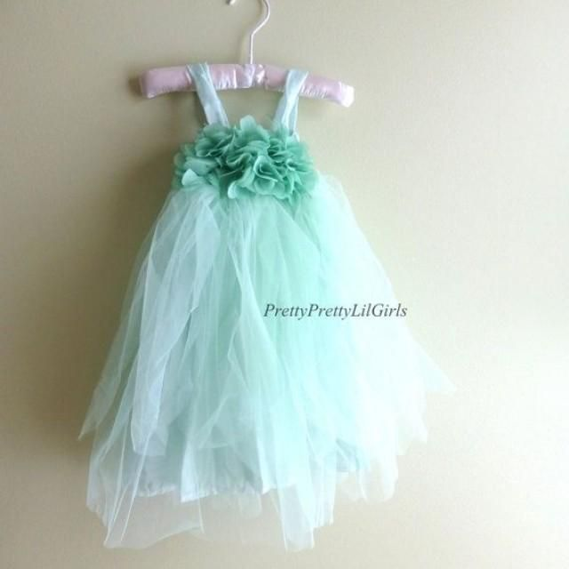 Weddbook is a content discovery engine mostly specialized on wedding concept. You can collect images, videos or articles you discovered  organize them, add your own ideas to your collections and share with other people - Girls Dress Flower Girl Dress Mint Dress by PrettyPrettyLilGirls