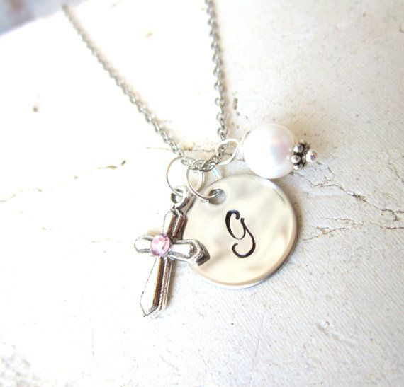 Personalized Children/'s Birthstone Necklace Circle Stamped Initial Necklace.First Communion Gift.Birthstone Jewelry.Birthday Gift.Baby Gift