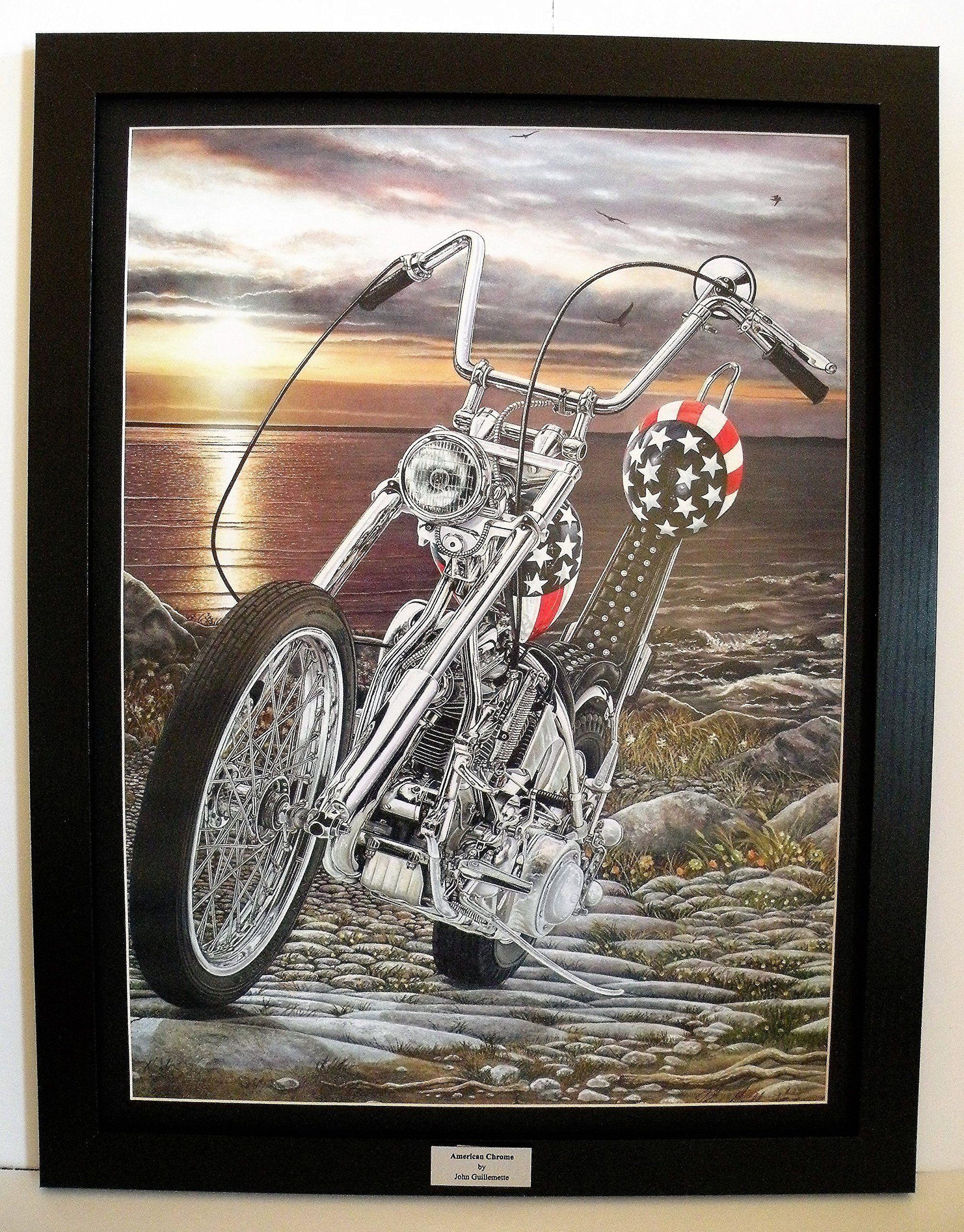 Easy Rider Harley Davidson Chopper, Vivid Sunset, Custom Framed, 18 Part 74