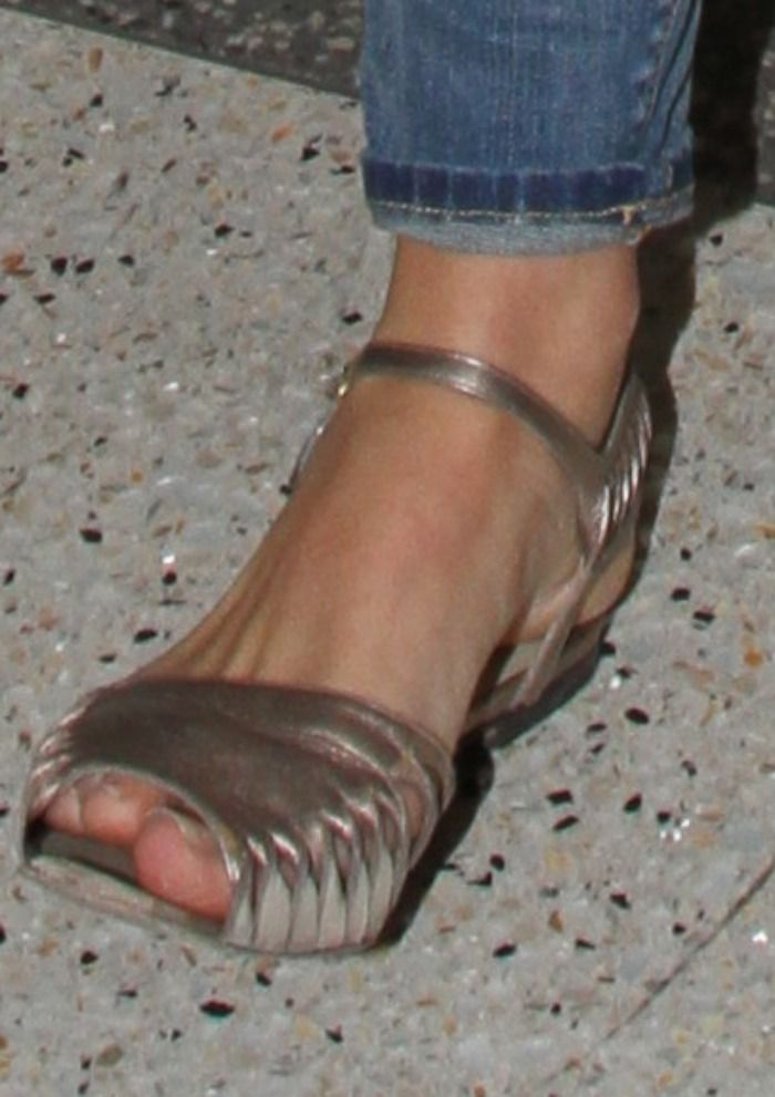 6fce7f7f3ba Lana Del Rey Shows Off Rose Gold Metallic Sandals LAX