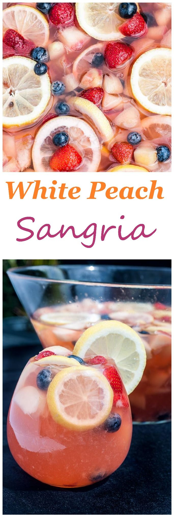 White Peach Sangria [Stir together 1/2 c brandy with 1/4 c sugar until sugar dissolves; Add 2 bottles white wine and desired fruit; Refrigerate overnight; Add soda water when served]