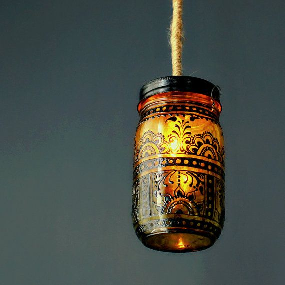 Re-purposed :: Hand Painted Mason Jar Lantern, Canary Yellow Tinted Glass with Black Accents