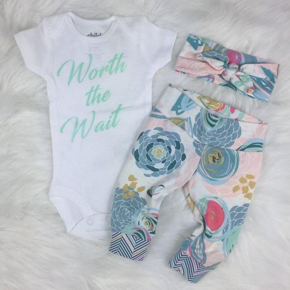 Photo of Mint Worth The Wait Baby Girl Coming Home Outfit Pink Floral Striped Theme