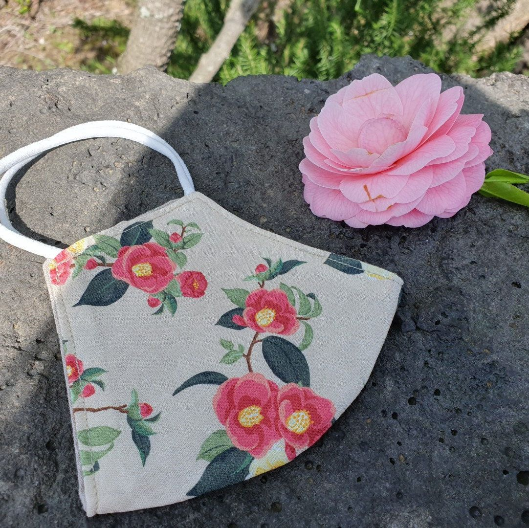 Face Mask Camellia Flower Cotton Washable Handmade From Jeju Etsy In 2020 Mask For Kids Handmade Kids Camellia Flower
