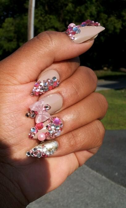 Kawaii Stiletto Long Length Press On Bling Nails By Houseofptah