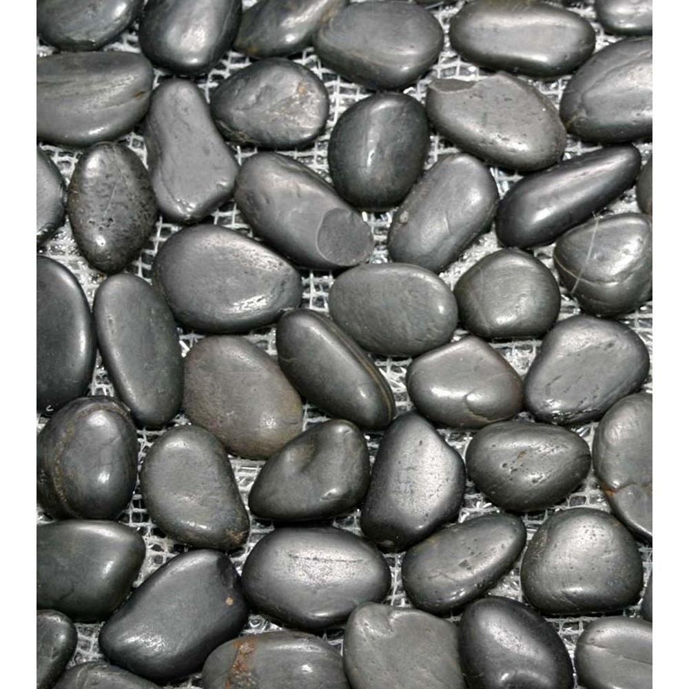 Islander Black Onyx 12 in. x 12 in. Natural Pebble Stone