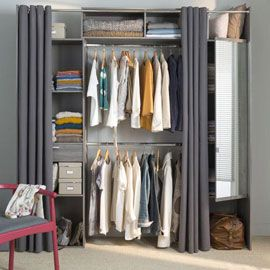 dressing tout en un avec rideaux et miroir chambre bureau pinterest organizations. Black Bedroom Furniture Sets. Home Design Ideas