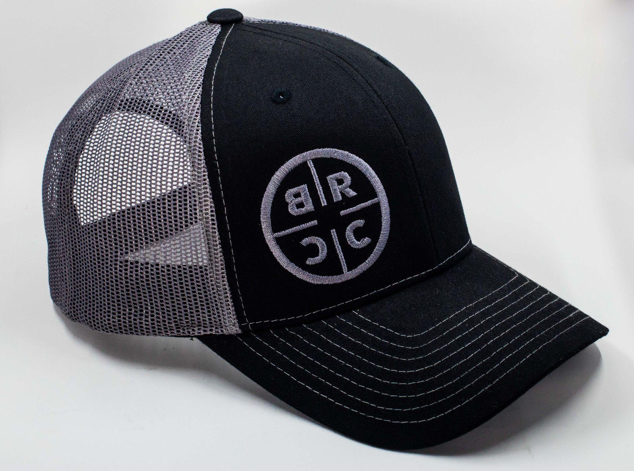 cae42c6aaa71d BRCC Circle Logo Trucker Hat - Black w Grey Mesh