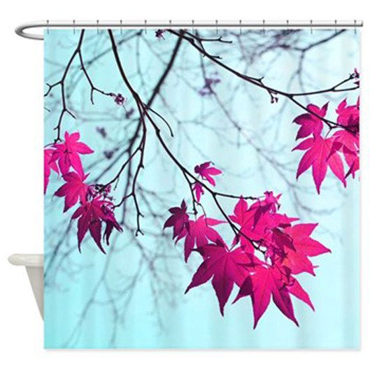Aqua Shower Curtain Mint Blue Magenta Pink Bathroom Decor - Pink and blue bathroom accessories