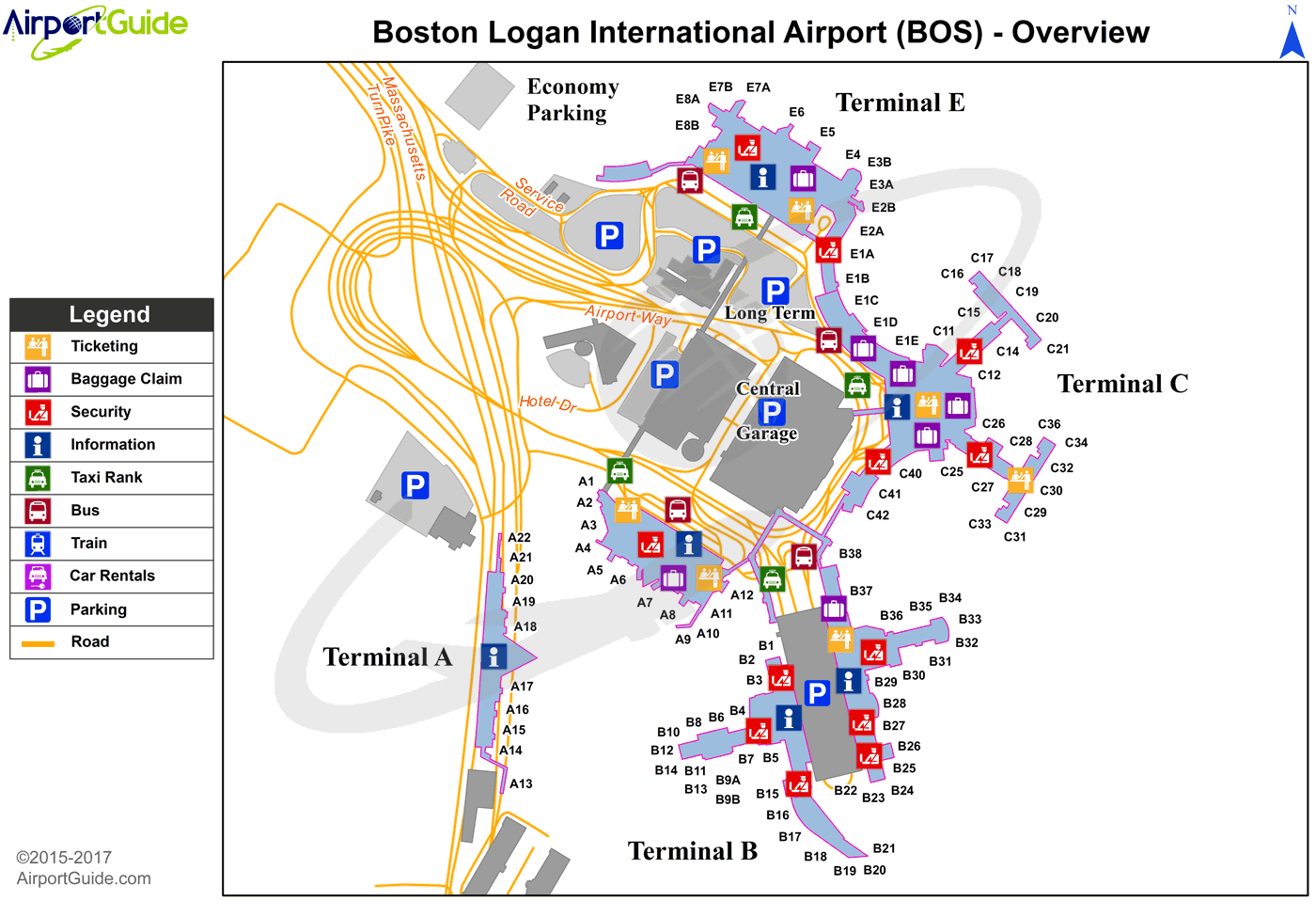 map of boston airport Boston General Edward Lawrence Logan International Bos Airport map of boston airport