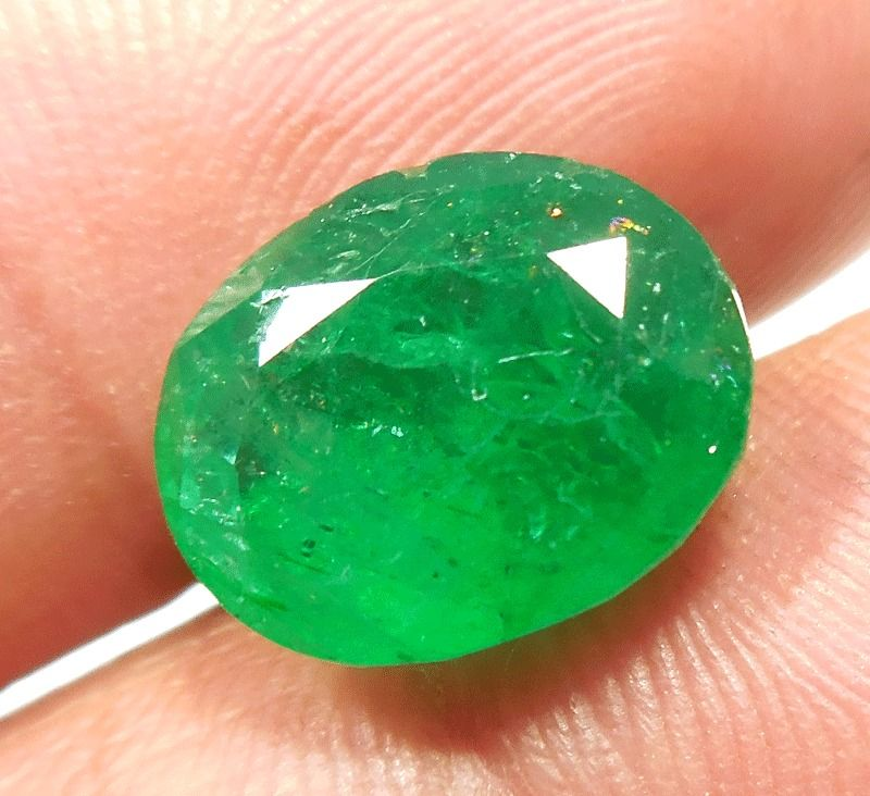 4.60 NATURAL GREEN BERYL STONE OVAL CUT SHAPE RING SIZE 11X9X6mm ...