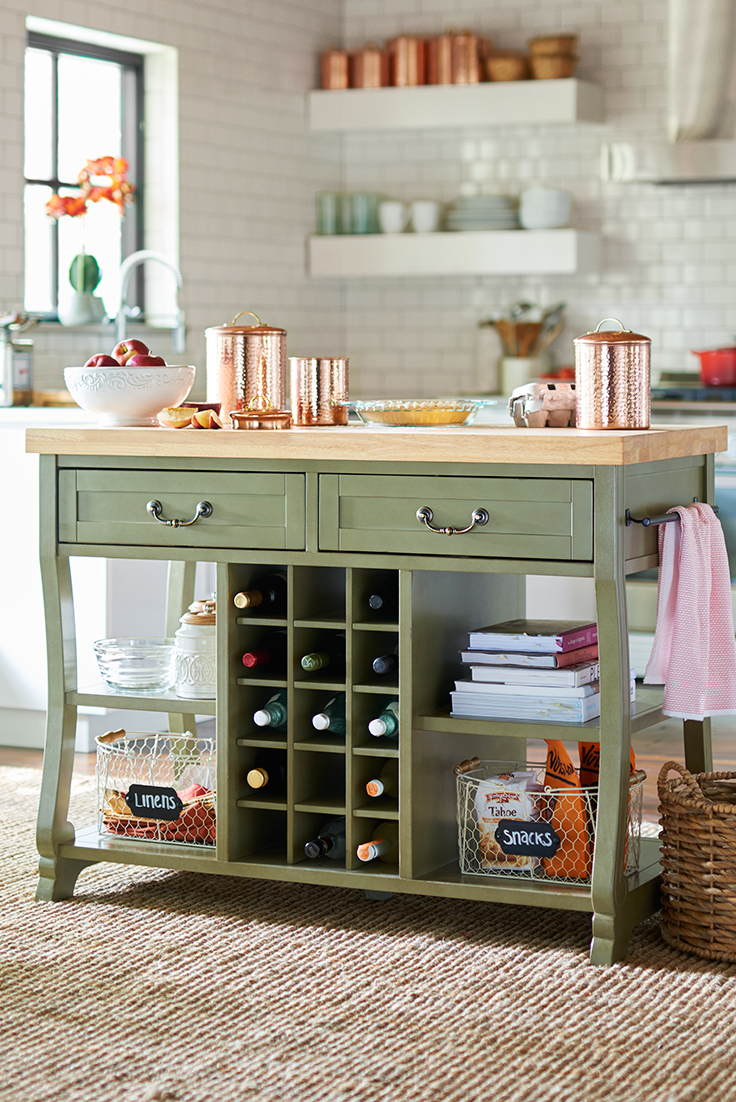 Inspired By A French Country Aesthetic Pier 1 S Marchella Kitchen Island Features Two Way Drawers Towel Bars Reversible Shelving That Can Accommodate