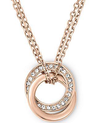 Michael Kors Rose Gold-Tone Crystal Pavè Interlocked Ring Pendant Necklace