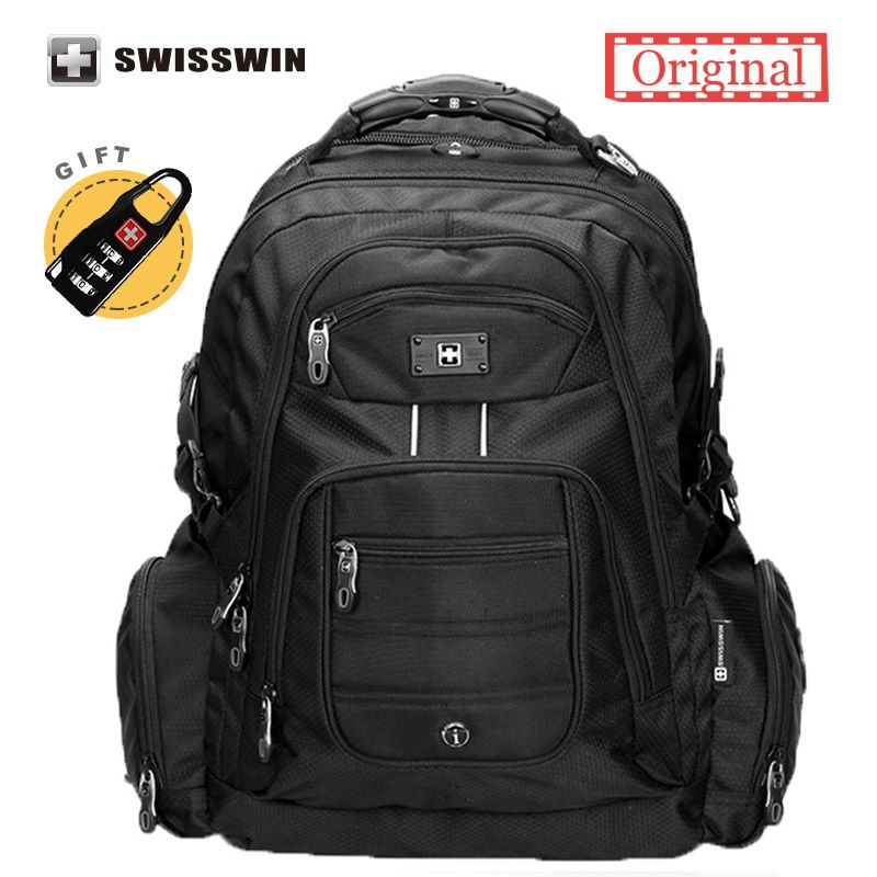 Swisswin 17 inch Men s Laptop Backpack Waterproof Nylon Notebook Computer  Bag High Quality 37L Big Travel Backpack Black