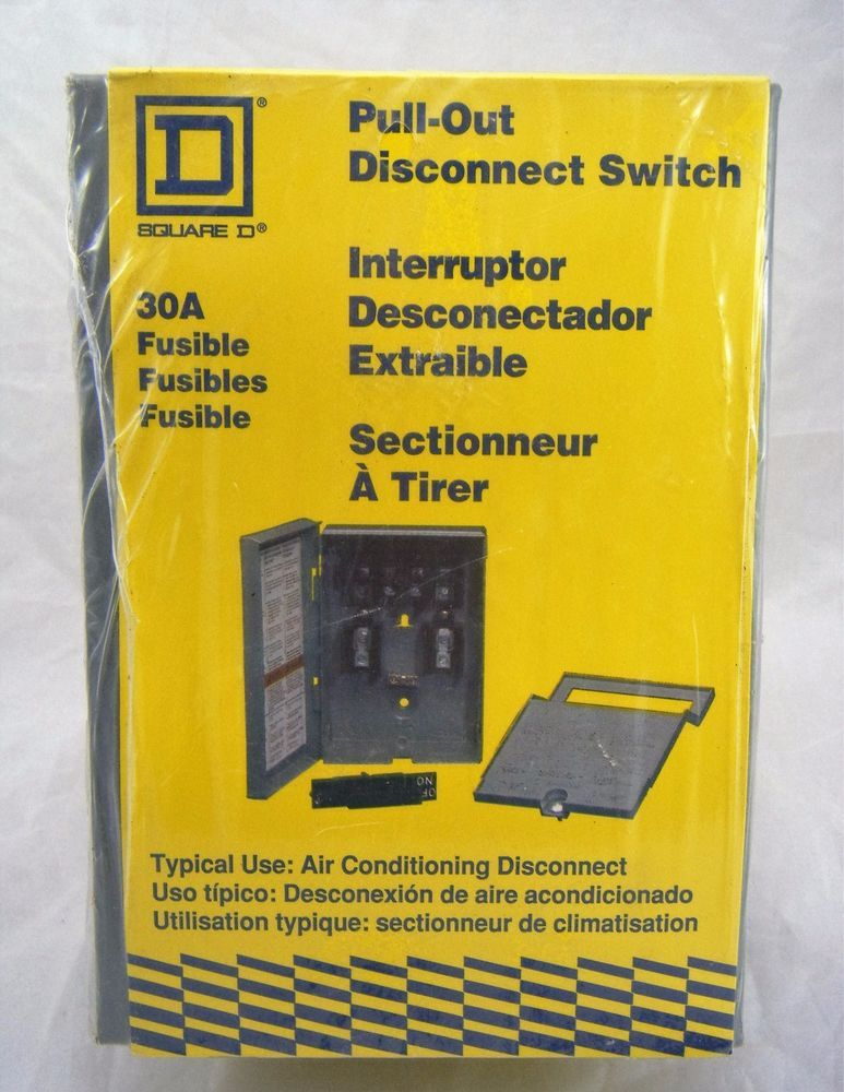 Square D 30A 30 Amp Pullout Disconnect Switch Fusible