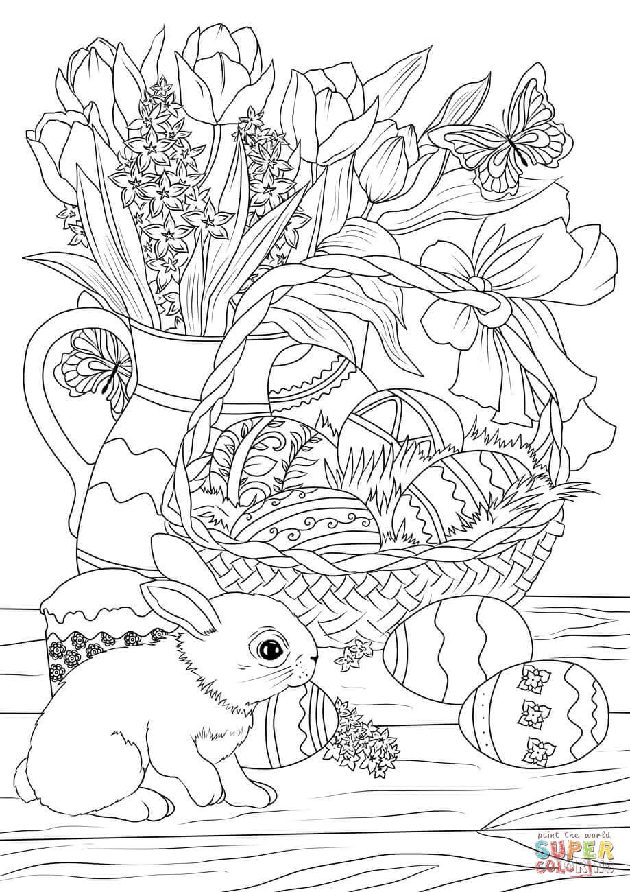 Easter Basket Decorated With Eggs Flowers Bunny And Pastry Coloring Page