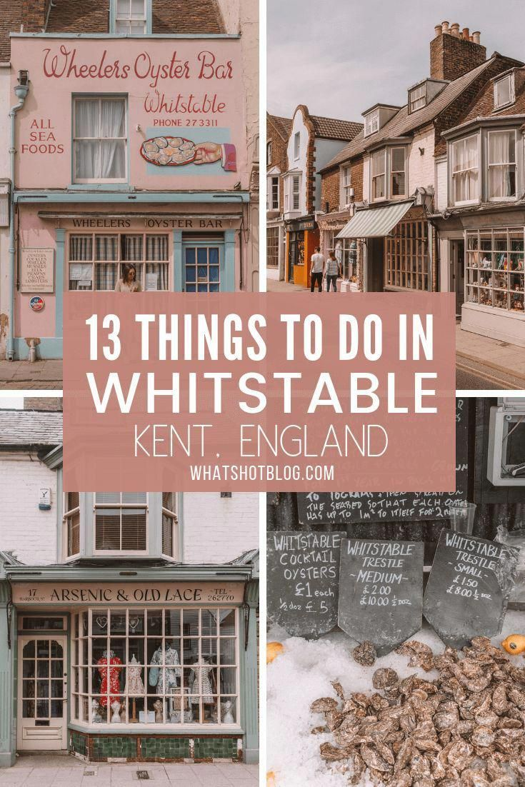 Whitstable in Kent is the perfect day trip from London and is under an hour away by train. These are 13 unmissable things to do in Whitstable. It's famous for coloured beach huts, long pebble beaches and oysters! #whatshotblog #whitstable #daytrip #traveltips #london #visitlondon #londontravel #englandtravel #visitengland #beach #kent #WhatToSeeInLondon