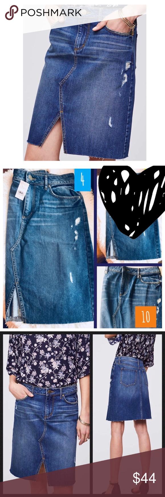 9942a54b04 LOFT Slit Denim Skirt * LOFT * 10 * Blue * Midi length distressed denim  skirt