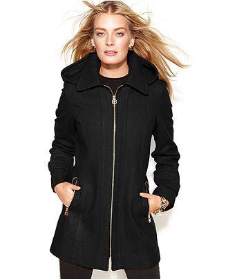 5083e8a853c Michael Kors Coat, Hooded Zip-Front Wool-Blend - Coats - Women ...