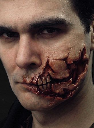 Ripped Face Prosthetic from Nimba Creations; An extreme injury prosthetic. with torn skin exposing muscl… | Maquillage gore. Maquillage ...