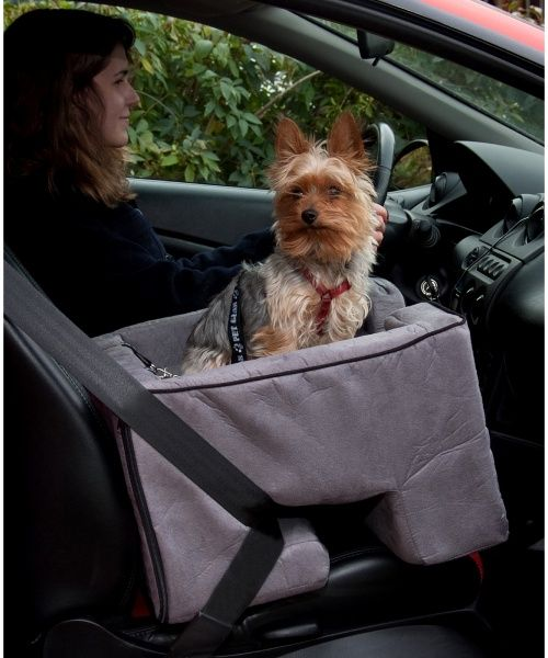 Allows your pet to safely be right next to you in the front seat.
