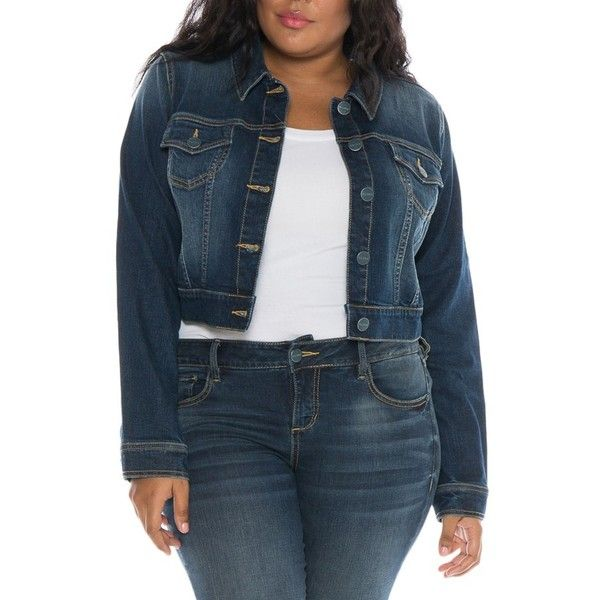 3048187773a Plus Size Women s Slink Jeans Embroidered Denim Jacket (135 CAD) ❤ liked on  Polyvore featuring plus size women s fashion