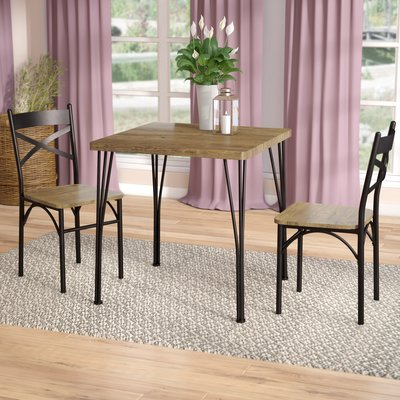 Laurel Foundry Modern Farmhouse Guertin 3 Piece Dining Set Table