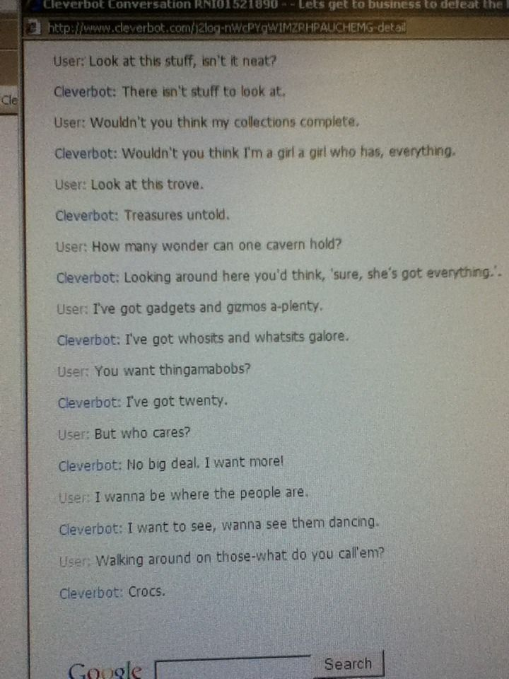 Cleverbot fail    I find Celverbot to be more amusing than
