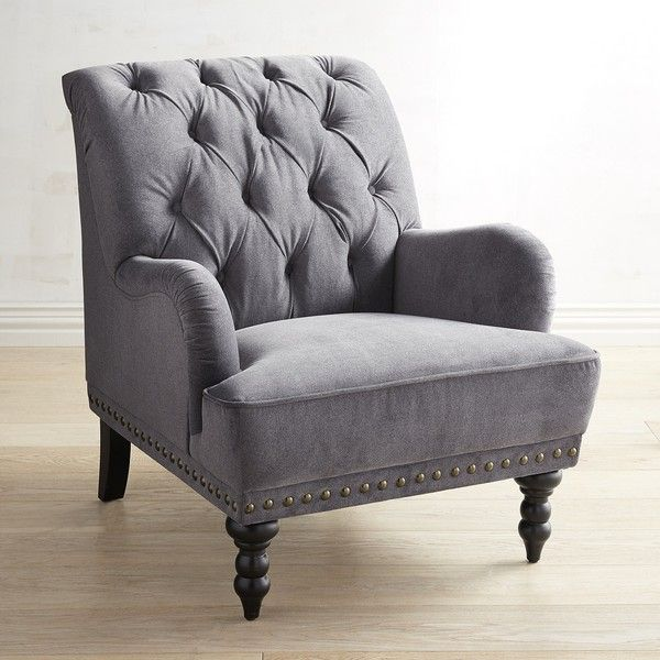 Pier 1 Imports Chas Zinc Armchair ($500) ❤ Liked On Polyvore Featuring  Home, Furniture, Chairs, Accent Chairs, Grey, Gray Armchair, Gray Accent  Chau2026