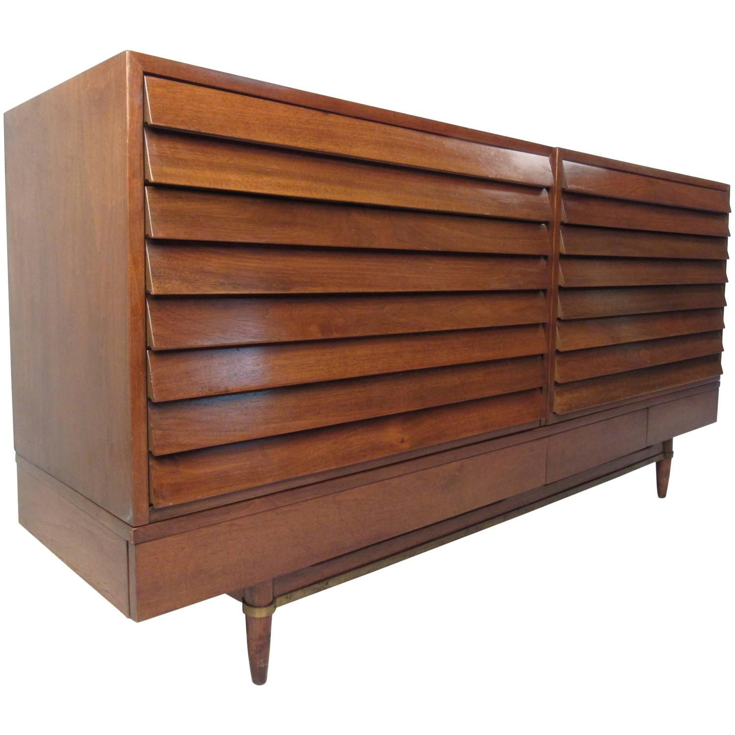 Vintage Walnut Louvered Chest Of Drawers By American Of Martinsville