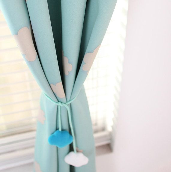 A Pair Of Blue Sky Clouds Curtains Baby Nursery Curtain Or Toddler Nap Bedroom Triple Woven Light Blocking